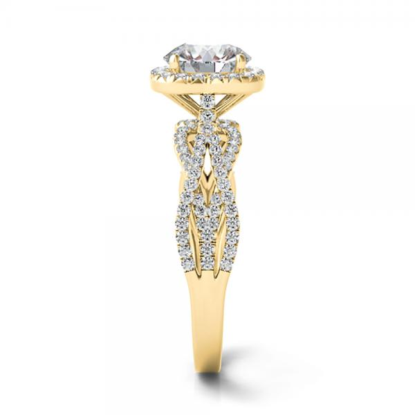 Diamond Twisted Halo Engagement Ring 14k Yellow Gold (1.50ct)