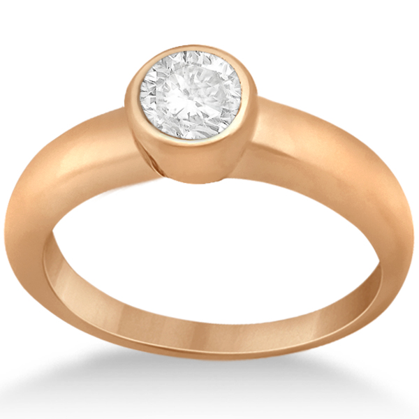 Bezel-Set Solitaire Engagement Ring Setting in 14k Rose Gold