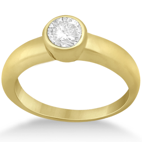 Bezel-Set Solitaire Engagement Ring Setting in 18k Yellow Gold