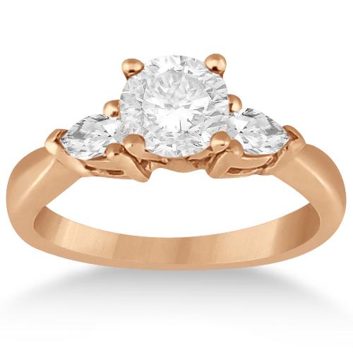 Three Stone Pear Shaped Diamond Engagement Ring 14k Rose Gold (0.50ct)