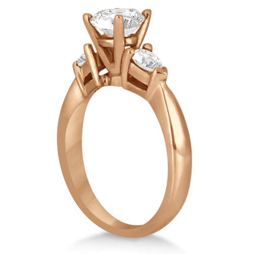 Three Stone Pear Shaped Diamond Engagement Ring 18k Rose Gold (0.50ct)