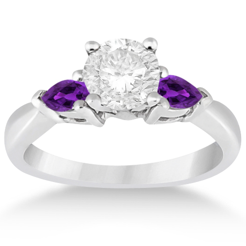 Pear Cut Three Stone Amethyst Engagement Ring 14k White Gold (0.50ct)