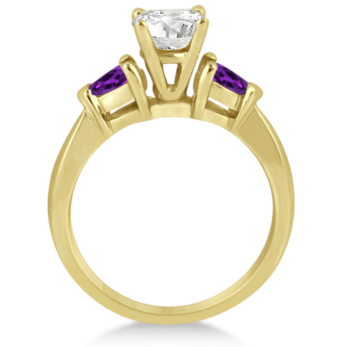 Pear Cut Three Stone Amethyst Engagement Ring 14k Yellow Gold (0.50ct)