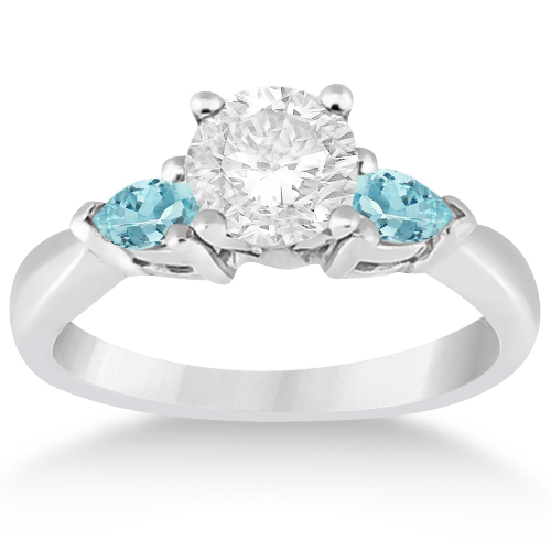 pear cut three stone aquamarine engagement ring 14k white gold 050ct - Aquamarine Wedding Rings