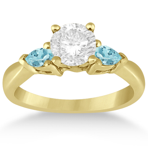 Pear Cut Three Stone Aquamarine Engagement Ring 14k Yellow Gold (0.50ct)