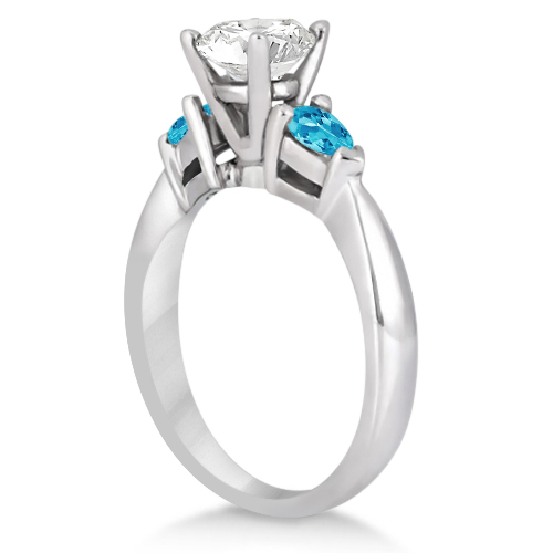 Pear Cut Three Stone Blue Topaz Engagement Ring 14k White Gold (0.50ct)