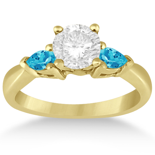 Pear Cut Three Stone Blue Topaz Engagement Ring 14k Yellow Gold (0.50ct)