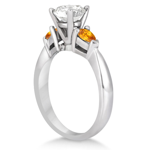 Pear Cut Three Stone Citrine Engagement Ring 14k White Gold (0.50ct)
