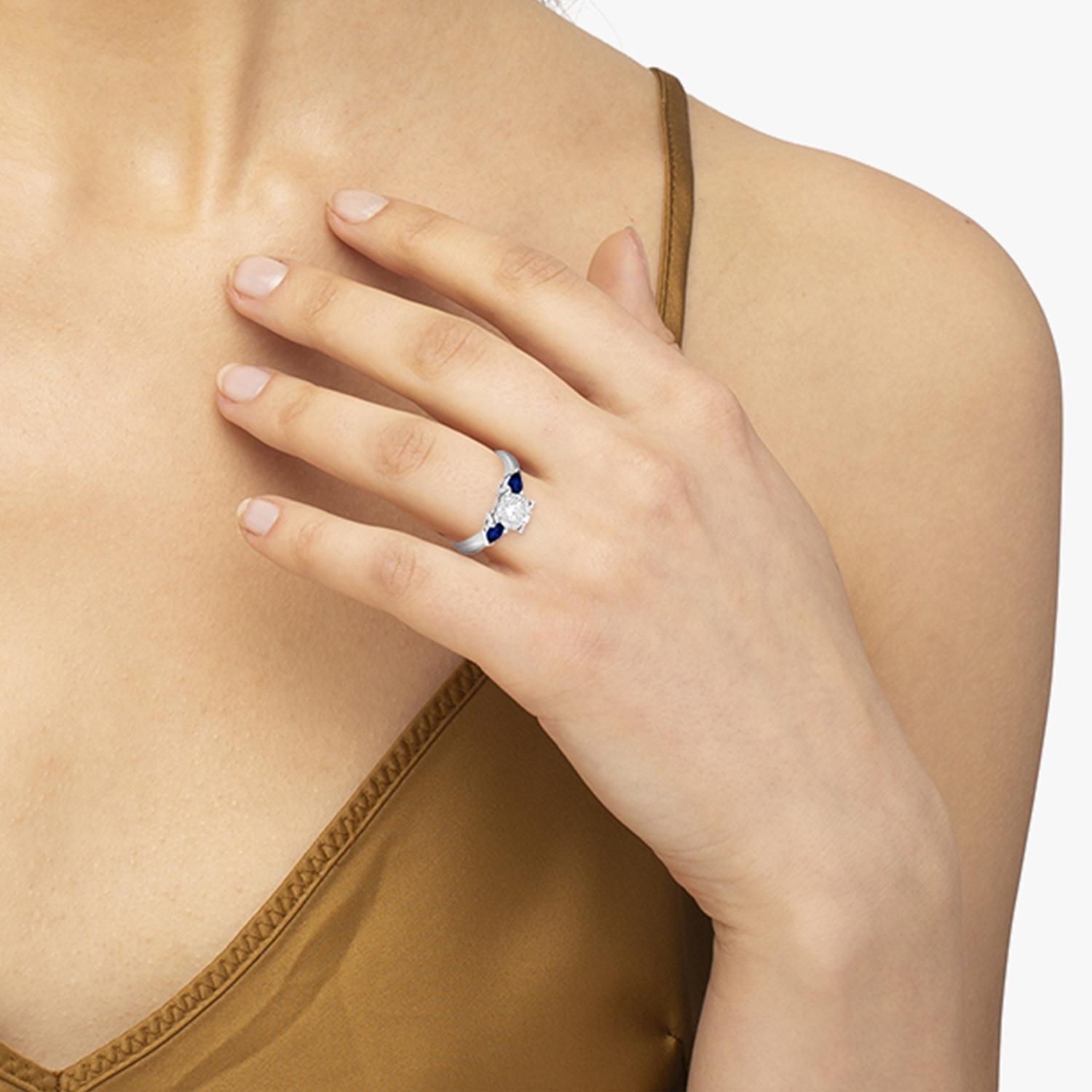 Pear Shape Three Stone Blue Sapphire Engagement Ring Platinum (0.50ct)