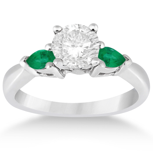 Pear Cut Three Stone Emerald Engagement Ring 14k White Gold (0.50ct)
