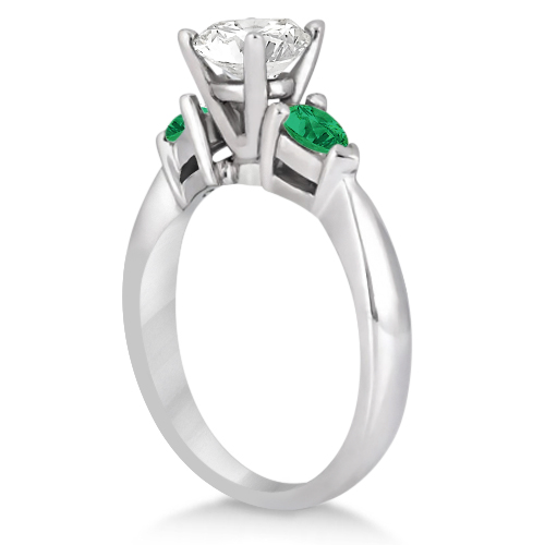 Pear Cut Three Stone Emerald Engagement Ring 18k White Gold (0.50ct)