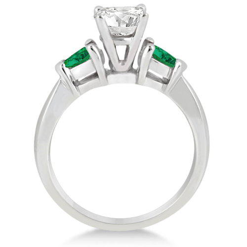Pear Cut Three Stone Emerald Engagement Ring Platinum (0.50ct)