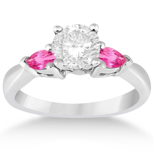 three pink sapphire engagement ring 14k white gold 0