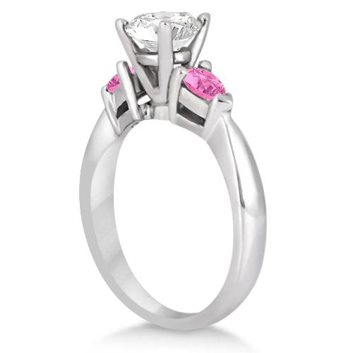 Three Stone Pink Sapphire Engagement Ring 14k White Gold (0.50ct)