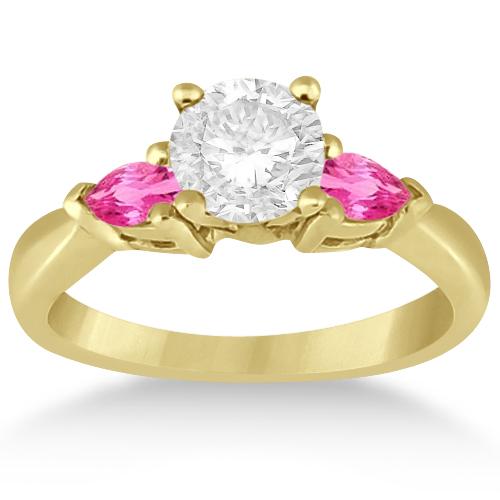 Three Stone Pink Sapphire Engagement Ring 14k Yellow Gold (0.50ct)