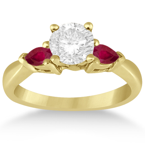 Pear Cut Three Stone Ruby Engagement Ring 14k Yellow Gold (0.50ct)