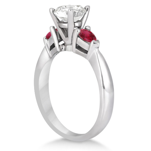 Pear Cut Three Stone Ruby Engagement Ring 18k White Gold (0.50ct)