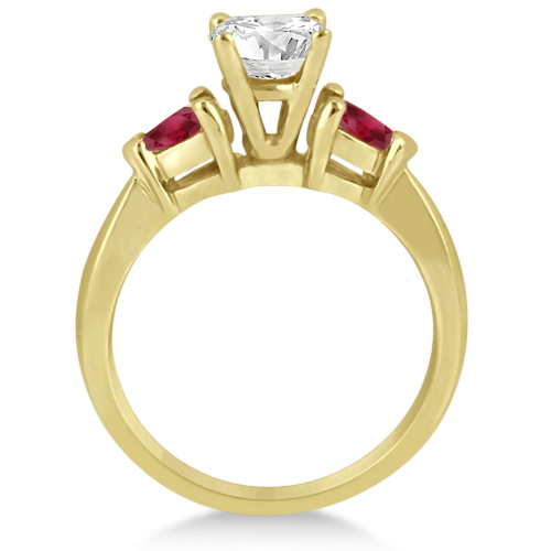 Pear Cut Three Stone Ruby Engagement Ring 18k Yellow Gold (0.50ct)