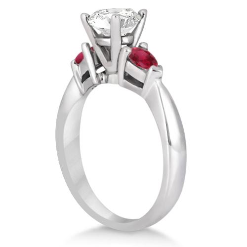 Pear Cut Three Stone Ruby Engagement Ring Platinum (0.50ct)