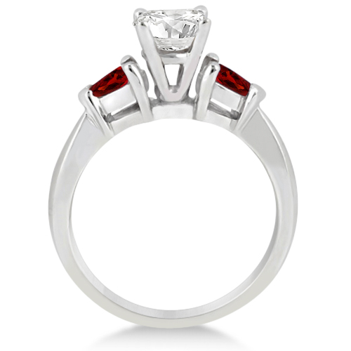 Pear Cut Three Stone Garnet Engagement Ring 14k White Gold (0.50ct)