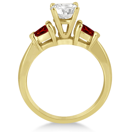 Pear Cut Three Stone Garnet Engagement Ring 14k Yellow Gold (0.50ct)
