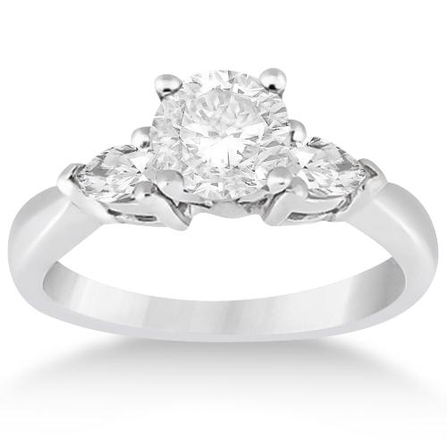 Three Stone Pear Shaped Lab Diamond Engagement Ring 14k White Gold (0.50ct)