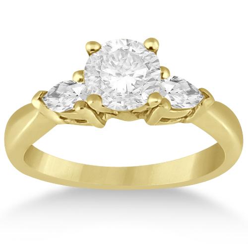 Three Stone Pear Shape Lab Diamond Engagement Ring 14k Yellow Gold (0.50ct)