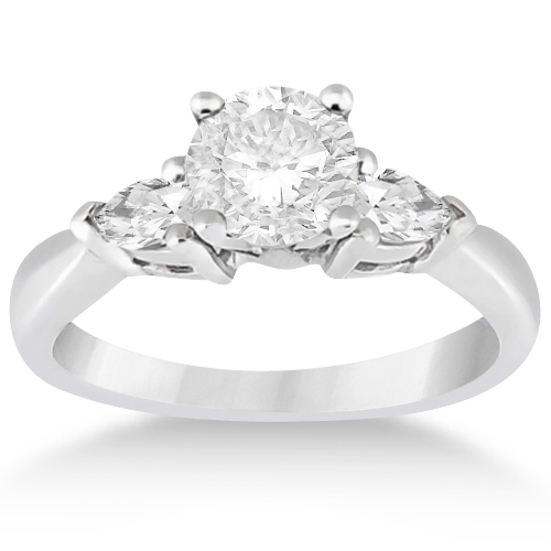 Three Stone Pear Shaped Lab Diamond Engagement Ring Platinum (0.50ct)