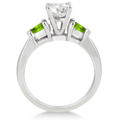 Pear Cut Three Stone Peridot Engagement Ring 14k White Gold (0.50ct)