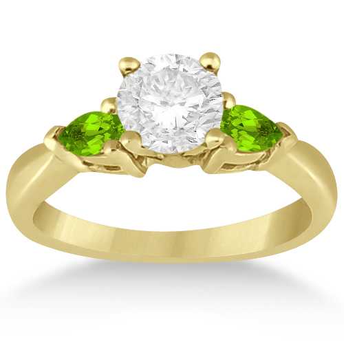 Pear Cut Three Stone Peridot Engagement Ring 14k Yellow Gold (0.50ct)