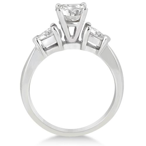 Three Stone Pear Shaped Diamond Engagement Ring Platinum (0.50ct)