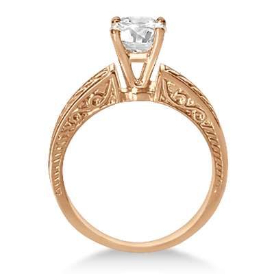 Vintage Solitaire Engagement Ring Setting 14k Rose Gold
