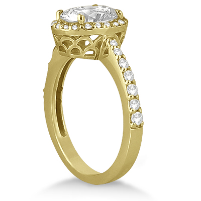 Oval Halo Diamond Engagement Ring Setting 14k Yellow Gold (0.36ct)