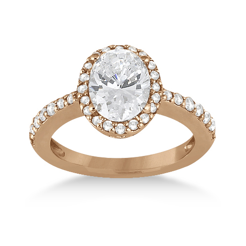 Oval Halo Diamond Engagement Ring Setting 18k Rose Gold (0.36ct)