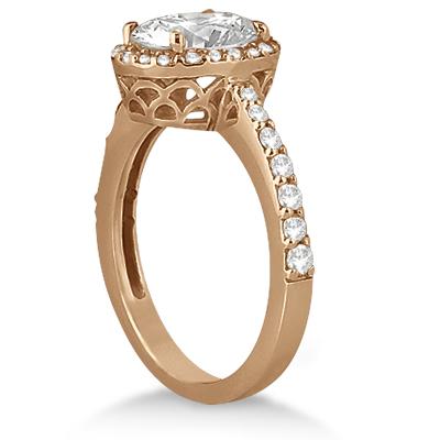 Oval Halo Diamond Engagement Ring Setting 18k Rose Gold (0.36ct)