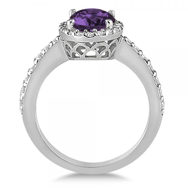 Oval Halo Amethyst Engagement Ring Setting 14k White Gold (3.29ct)