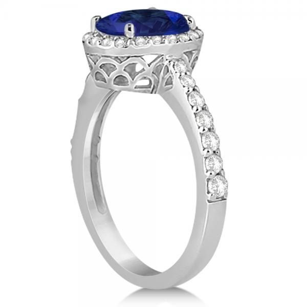 Oval Halo Blue Sapphire Engagement Ring Setting 14k White Gold (3.29ct)