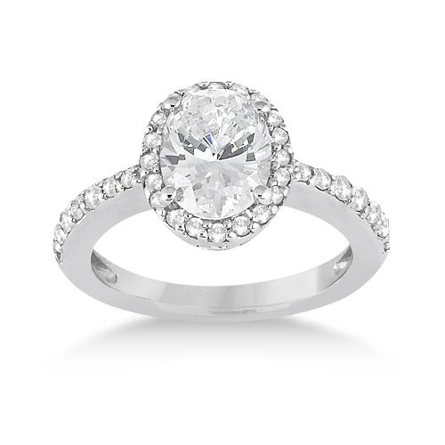 Oval Halo Diamond Engagement Ring Setting Palladium (0.36ct)
