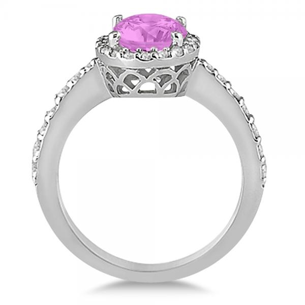 Oval Halo Pink Sapphire Engagement Ring Setting 14k White ...