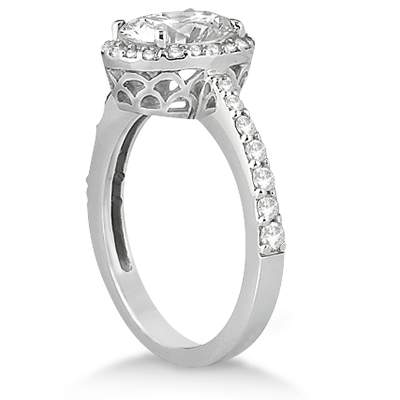 Oval Halo Diamond Engagement Ring Setting Platinum (0.36ct)