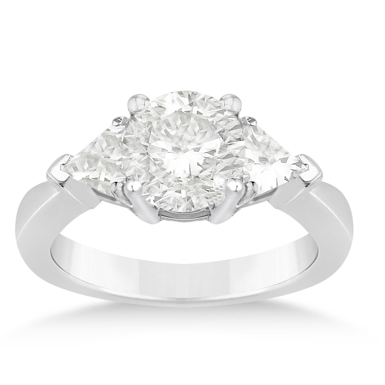 Diamond Trilliant Three Stone Engagement Ring 14k White Gold (0.70ct)