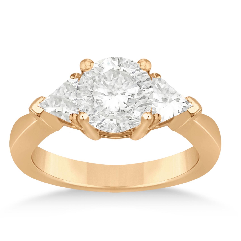 Diamond Trilliant Three Stone Engagement Ring 18k Rose Gold (0.70ct)
