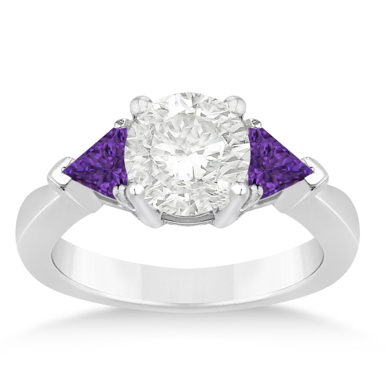 Amethyst Three Stone Trilliant Engagement Ring 18k White Gold (0.70ct)