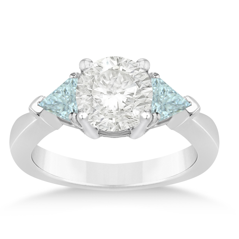 Aquamarine Three Stone Trilliant Engagement Ring 14k White Gold (0.70ct)