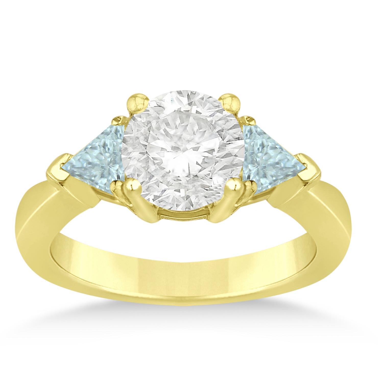 Aquamarine Three Stone Trilliant Engagement Ring 18k Yellow Gold (0.70ct)