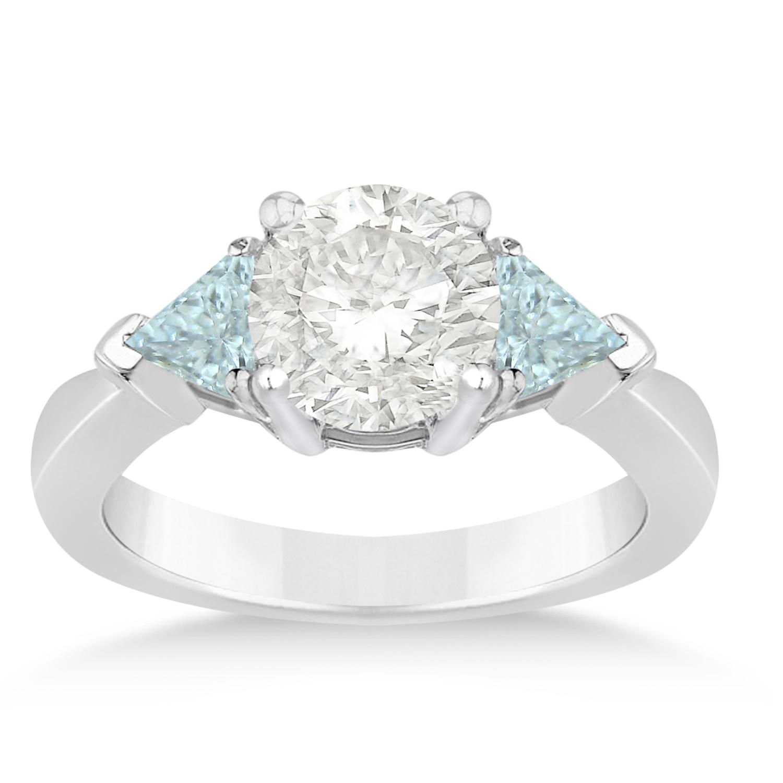 Aquamarine Three Stone Trilliant Engagement Ring Platinum (0.70ct)