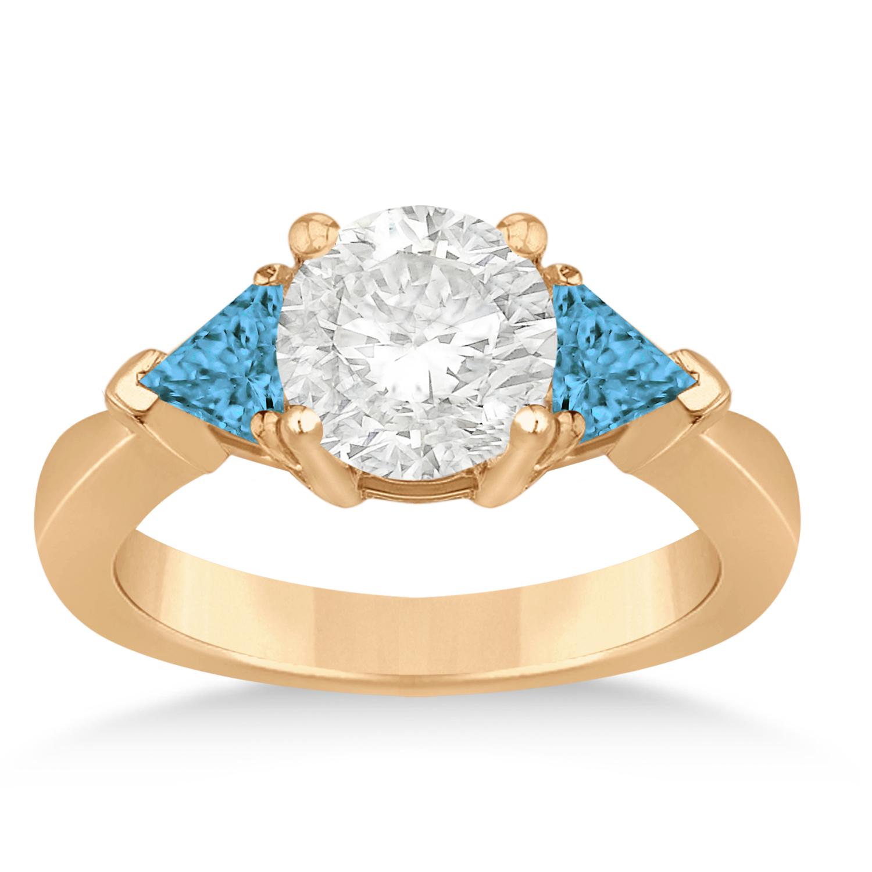 Blue Diamond Three Stone Trilliant Engagement Ring 14k Rose Gold (0.70ct)