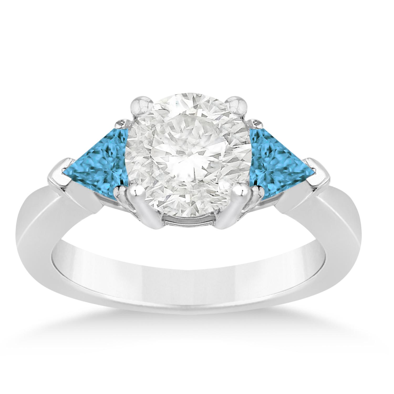 Blue Diamond Three Stone Trilliant Engagement Ring 18k White Gold (0.70ct)
