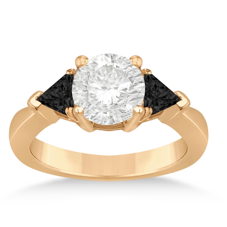 Black Diamond Three Stone Trilliant Engagement Ring 14k Rose Gold (0.70ct)