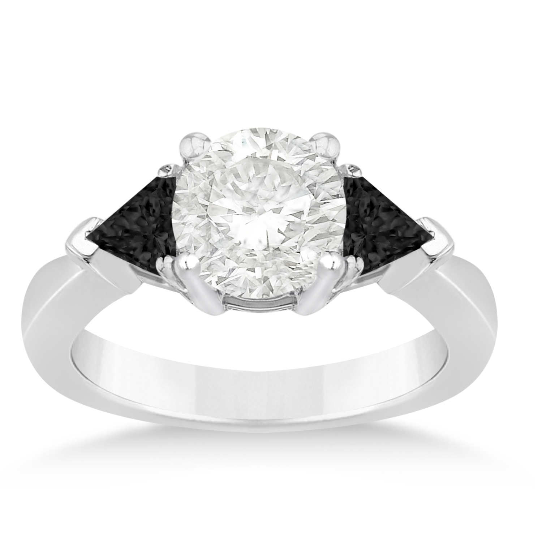 Black Diamond Three Stone Trilliant Engagement Ring 18k White Gold (0.70ct)